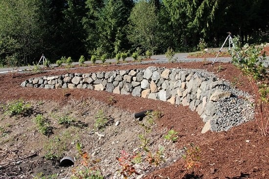 basalt rock retaining wall