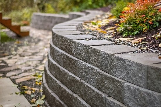 gray retaining wall material