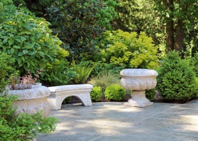 Concrete, Lawn Service and Landscaping Company | Kitsap County WA | Landscaping with mature shrubs and stamped concrete patio in Silverdale, WA