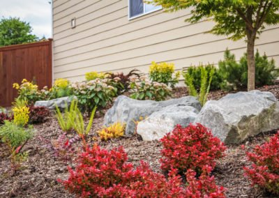 Landscaping with rocks and plants in Poulsbo, WA